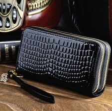 Black Lady Women Leather Purse Wallet Phone Card Holder Double Zip Handbag