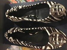 Tory Burch Reva Zebra Animal Print Leather Pony Hair Ballet Flats Shoes Sz 5