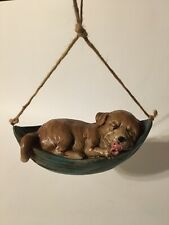 New listing Garden or Room Hanging Decor Puppy Napping in Hammock w/Pacifier Resin