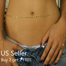 Women Waist Chain Belly Bikini Body Jewelry Rhinestone Back Chain Beach Style J
