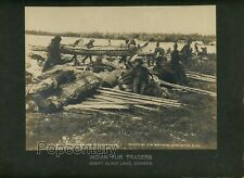 1900 Large Mounted Photograph Indian Canoe Fur Traders Great Slave Lake Canada