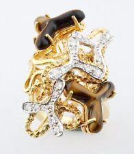 18k Two-Tone Gold Tiger Eye Quartz & Diamond Free Form Design Cluster Ring