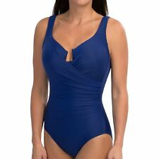 NWT New MIRACLESUIT Escape Underwire Tank One Piece Swimsuit Marine Blue 10