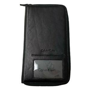 "Calvin Klein Passport Case lD Holder Leather Zip Credit Card Bag New 5"" x 9"""
