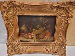 Vintage Fruit Still Life Framed Art Oil Painting Signed