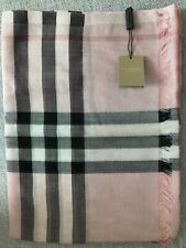 BURBERRY Metallic Silk & Wool Scarf  100%Authentic : colour Ash Pink Rose Silver