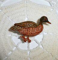 Vintage GERRY'S Signed Brown & Green Enamel Duck Brooch Pin