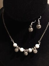 White Howlite,Buffalo Turquoise Stone Jewelry Set With Antique Ball Spacers