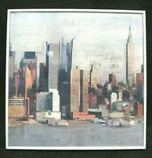 New York Painted Skyline Cityscape Art Reproduction on a 12 x 12 White Frame