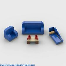 LEGO CITY -- CUSTOM BLUE LIVING ROOM FURNITURE COUCH : CHAIR : CHAISE LOUNGE