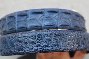 Luxury Blue Genuine Alligator Crocodile Leather Skin Men's Belt Handmade