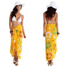 14fd5d649e 1 World Sarongs Womens Hawaiian Swimsuit Cover-Up Sarong in  Yellow/Green/Carmel