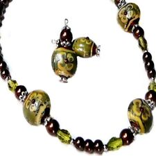 Necklace earrings set, Olive Green brown Lampwork artisan - clip on or pierced