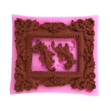 Mirror Frame Scroll Pattern Silicone Mould Cake Fondant Chocolate DIY Baking