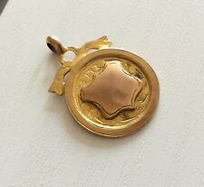Lovely Antique 9CT Solid Gold Fob Medal Pendant Antique 1928