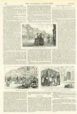 1891 - Antique Print GERMANY Beyreuth Street Market Rye Meal Stall  (226)