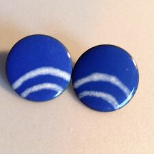 Handcrafted Blue Enamel Earring White Arched Cloud Curved Stripes Copper Pierced