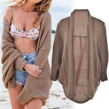 Womens Cardigan Loose Sweater Long Sleeve Knitted Cardigan Outwear Jacket EW