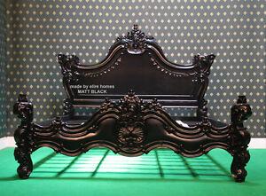 "USA King Size 76""x80"" MATT BLACK Gothic designer Baroque mahogany wood Bedframe"