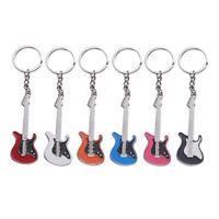 6pcs Mini Guitar Pendant Key Ring Chain Keyring Keychain Purse Bag Decoration