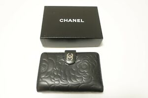 Authentic CHANEL Camellia  Bifold Leather Black Long Wallet  #8590