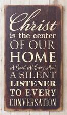 New Rustic Primitive Shabby CHRIST THE CENTER OF OUR HOME Wood Plaque Sign