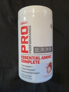GNC Pro Essential Amino Complete Plus Energy 15.87 Oz Strawberry B 30 Serving *7