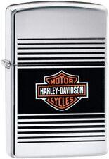 Zippo Harley Davdison LOGO High Polish Chrome Orange Bar & Shield NEU&OVP