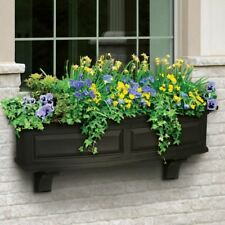 Window Box 4 ft. Plastic Medium Size Self-Watering in Black with Drainage Holes