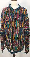 VTG 90s COOGI Australia Bright Multicolor Cotton Button Sweater Mens Sz 4XLT