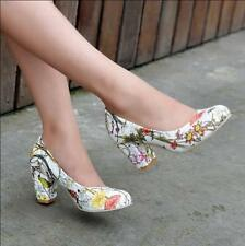 Chic Womens Girls Thick High Heel Slip on Retro Pumps Shoes OL Floral Print B9E9