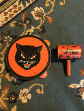 T Cohn Vintage Halloween Tambourine Noisemaker With Wood Handle Noise Maker.