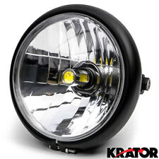 "12V Black Universal Motorcycle 6"" Bright LED Round Headlight High Low Beam Light"