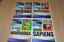 lot 4 livres d'Où vient l'homme : origines, hominoïdes, homo sapiens, dinosaures