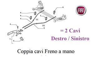Coppia Cavi Corde Freno a Mano Posteriore FIAT GRANDE PUNTO 1.9 MULTIJET