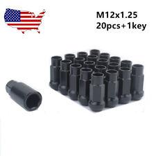 Black 20PCS+1 KEY M12*1.25 MUTEKI SR48 EXTENDED WHEELS TUNER LUG NUTS Open Ended