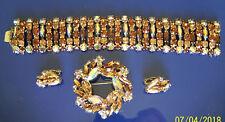 """Sherman Topaz Aurora Borealis Bracelet 6 Stone Wide 1-1/4"""", Brooch, Earring Set"""