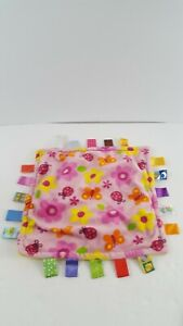Taggies Plush Pink Butterfly Flowers Lovey Security Blanket Yellow Back Ladybugs