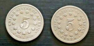 1867 & 1868 SHIELD NICKELS 5c - High Quality
