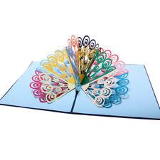 3D Pop Up Card Peacock Birthday Wedding Anniversary Greeting Cards Invitations