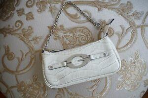 Guess Faux Leather Micro Bag Cream Reptile Look Mini Handbag Coin Purse Wristlet