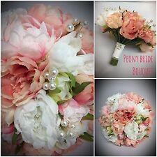 Pivoines vintage bouquet mariée broche perles mariage fleurs rose pêche blanc