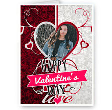 Personalised Photo Added Happy Valentines Day Heart Themed A5 Card
