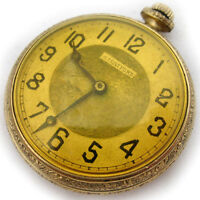 VINTAGE Old STRATFORD Gold Tone Collectible POCKET WATCH Swiss Made Mechanical