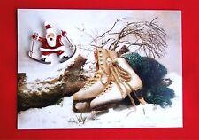 VINTAGE VICTORIAN STYLE CHRISTMAS CARD w ENAMEL SANTA PIN BROOCH SKIS SKATES