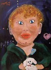 ORIGINAL BOY Visionary  NAIVE Folk OUTSIDER MCW art Mary Carol Primitive
