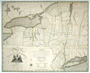 1804 NY MAP ORLEANS ONEIDA COLUMBIA ESSEX COUNTY New York History  HUGE