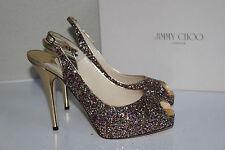 New 9.5  39.5 Jimmy Choo Clue Multi Color Glitter Slingback Platform Sandal Shoe