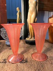 Pair Vintage German Walther & Sohne Frosted Salmon Pink Trafalgar Vases c1930's