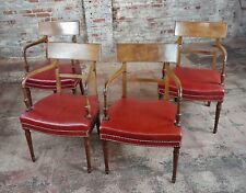1820s George Iv Mahogany Arm Chairs w/Red Leather seats-Set of 4